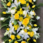 Lilies and Roses Coffin Spray Yellow and White