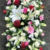 Lilies & Roses Coffin Spray in Red, Pink and White