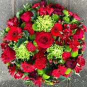 Funeral Flat Posy Red and Green